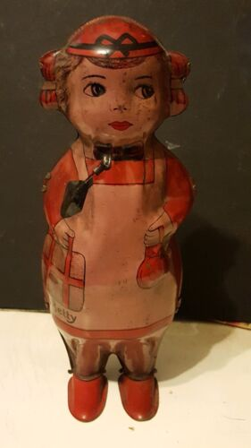 Vintage 1930s Tin Wind-Up Betty Shako Walker Toy By Lindstrom