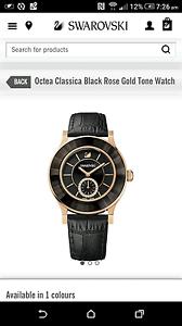 Genuine Swarovski Octea Classica Black Rose Gold Tone Watch Strathfield Strathfield Area Preview