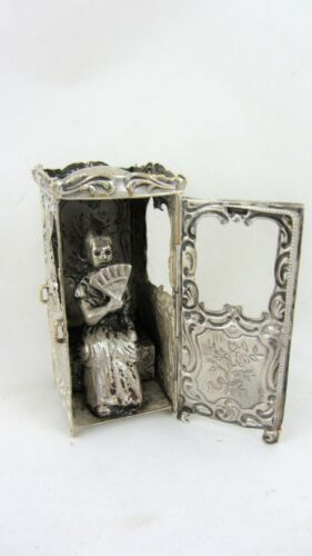 Antique Sedan Chair Pin cushion Lady with fan inside Redditch Patent