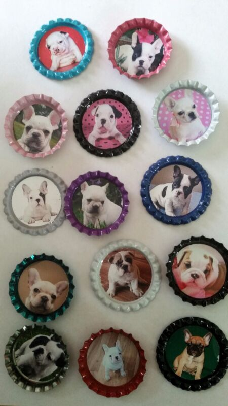 14 French Bulldog bottle cap magnets Frenchy Dog breeds cupcake toppers
