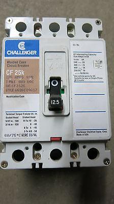 Challenger Cf3125 3 Pole 125 Amp 600 Volt Circuit Breaker- Warranty