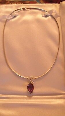 STERLING OMEGA ITALY 17 INCH CHAIN WITH AN AMETHYST SLIDE .925 16.30 GRAMS