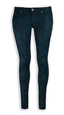 NEW Women Fashion GREEN Shiny Flower Jeans Stretchy Skinny Slim Pants ALL SIZES