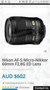 Nikon nikkor 60mm lens. Perfect condition. Forrestdale Armadale Area Preview