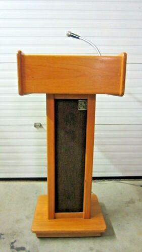 Sound Craft Hardwood Podium Lectern w/Lights, Microphone, Amp, Speaker, More...