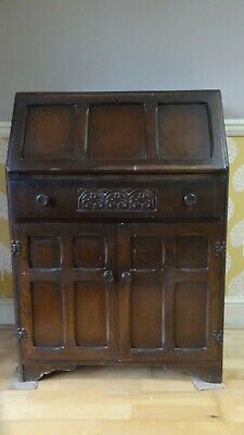 Antique Solid Oak Writing Bureaux with nice oak carved detail. Very Good.