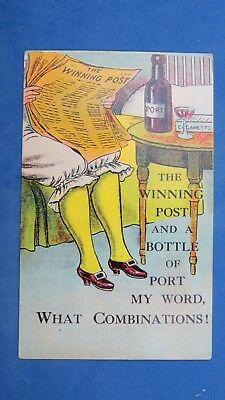 Vintage Comic Postcard 1900s Horse Racing Bet Bloomers Knickers The Winning Post