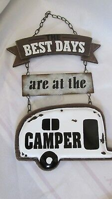 The Best Days Happy Camper ~~~Wall Wood  SIGN Decor Vintage Syle Travel