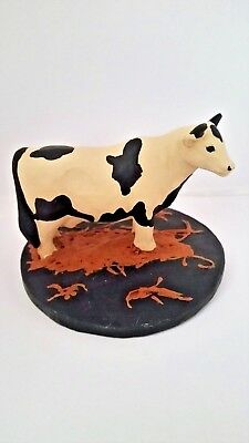 Blossom Bucket Cow Figurine in Straw with Base