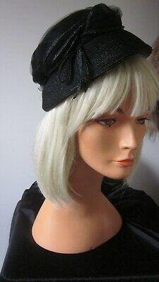 1950s Hats: Pillbox, Fascinator, Wedding, Sun Hats 1950,s black straw/tulle orig vint hat by Valerie Modes USA $33.25 AT vintagedancer.com