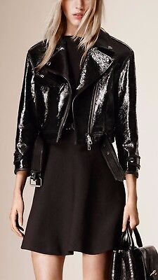 NWT BURBERRY $3995 WOMENS LEATHER CROPPED BIKER JACKET COAT US 6 EU 40 ITALY