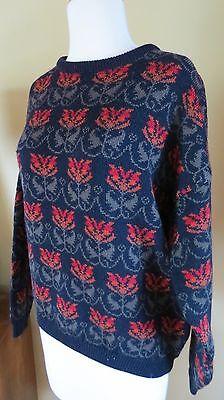 Vtg Jamie Watson Scotland  Wool Floral Pullover Sweater  40  Bust Size  8 10