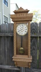 ansonia clock co. fancy ornate american wall regulator clock ,queen jane model
