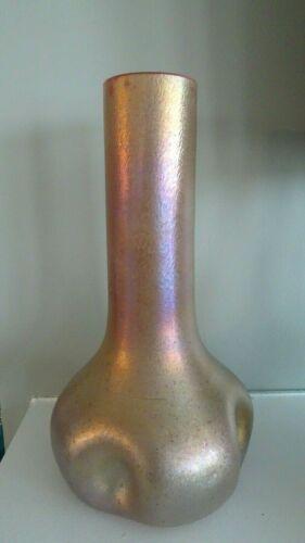1910 Large KRALIK Art Glass Bohemian Pink Cased GOLD GLATT SILBERIRIS PINCH VASE