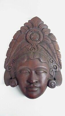 OLD VINTAGE CARVED WALL HEAD STATUE INDONESIAN ART