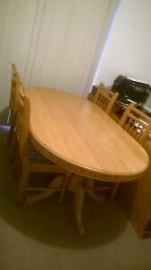 Geniune South African oak dinning table, 6 chairs and buffet Halls Head Mandurah Area Preview
