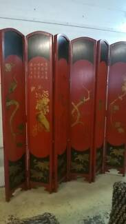 Vintage Red Chinese Folding Screen/Room Divider Noosaville Noosa Area Preview