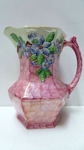 ANTIQUE POTTERY CERAMIC MALING JUG LUSTRE GLAZE FORGET ME NOT FLORAL PAINTED