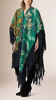 NEW RARE BURBERRY PRORSUM RUNWAY WOVEN PATCHWORK PONCHO WITH CALF-SUEDE FRINGE