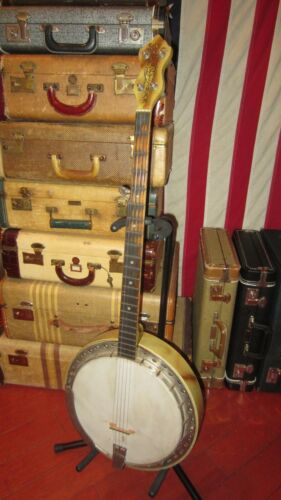 Vintage Original Circa 1949 Kay Old Kraftsman 5 String Banjo White and Brown