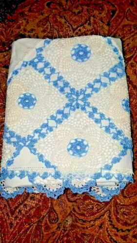 """VINTAGE HAND CROCHETED BLUE LACE BOLSTER VINTAGE 60"""" PILLOWCASE NEW"""