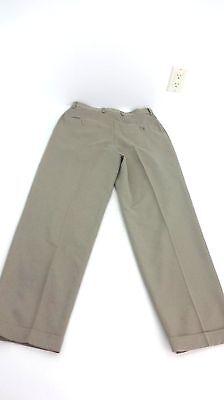 RACQUET CLUB MENS KHAKI POLYESTER DRESS PANTS FLAT FRONT NO CUFFS 32 X 29