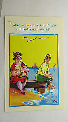 1950s Risque Saucy Funny Vintage Postcard Breastfeeding Nursing Mother New Baby (Funny Nurse Comics)