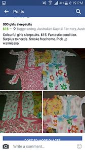 Heaps of 000 bundles girls and boys sleepsuits Wanniassa Tuggeranong Preview