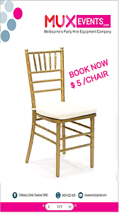 Tiffany golden chair / wedding chair Fawkner Moreland Area Preview