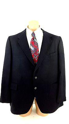 Monte Christo Herren Marine Nadelstreifen Wolle Anzug Jacke Sport Mantel Größe ()