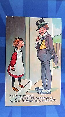 Political Comic Postcard 1900s LlBERAL CONSERVATIVE PARTY Shoemaker - Political Party Themes