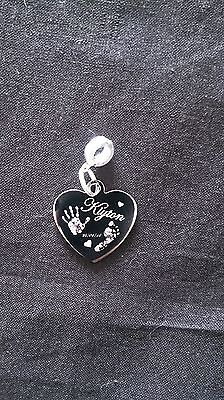 Hand Engraved Heart - Engraved Finger /Hand/Foot Print Stainless Steel Heart Charm & Round Attachment