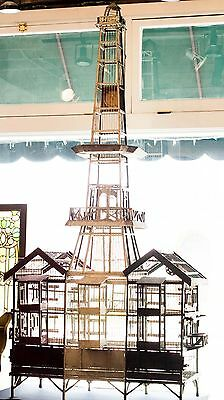 Monumental Antique Folk Art Canary Breeding Cage with Clock Tower Original Paint