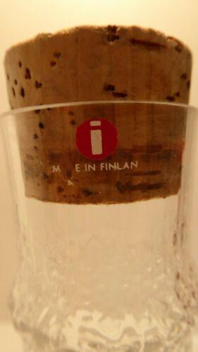 VINTAGE TAPIO WIRKKALA IITTALA ART GLASS ICE / BARK TEXTURED CARAFE DECANTER #2