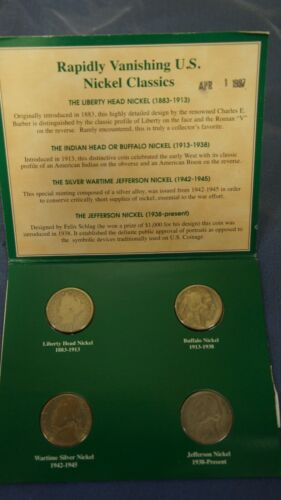 AMERICAN NICKELS OF THE 20TH CENTURY - 4 COIN SET - RAPIDLY VANISHING US NICKELS