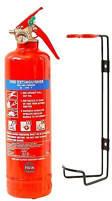 1KG DRY ABC POWDER FIRE EXTINGUISHER HOME OFFICE CAR KITCHEN + BRACKET