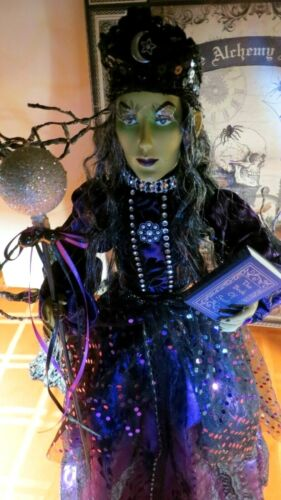 """HALLOWEEN WITCH DOLL W/SPELL BOOK, CRYSTAL BALL, HALF MOON, BAT 21"""" TABLE TOP"""