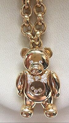 "Auth CHOPARD 2"" Teddy Bear 750 Yellow Gold Pendant Necklace Happy Diamonds Chain"