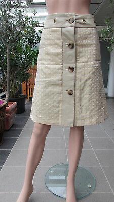 Rock  Stoff und Leder  Gr. 40 Modell Lorena beige gold weiß (Weiß Und Gold Stoff)