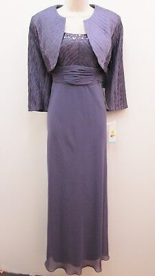 Patra Violet 2-piece Bolero Jacket Stretch Chiffon Mother Bride Groom Dress -