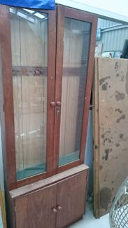 Billiard que cabinet hutch display glass China antique patina old Sunbury Hume Area Preview