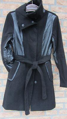 H&M Damen Wolljacke Kurzmantel Mantel mit Kunstleder Gr.36 Schwarz gebraucht kaufen  Auufer