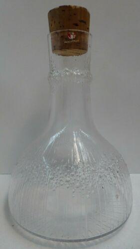 VINTAGE TAPIO WIRKKALA IITTALA ART GLASS ICE / BARK TEXTURED CARAFE DECANTER