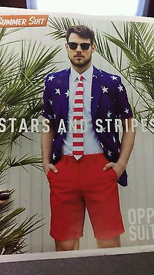 Oppo Suit Stars Stripes Costume USA Flag Uncle Sam Jacket Tie Shorts 4th Of July (Costume Of Usa)