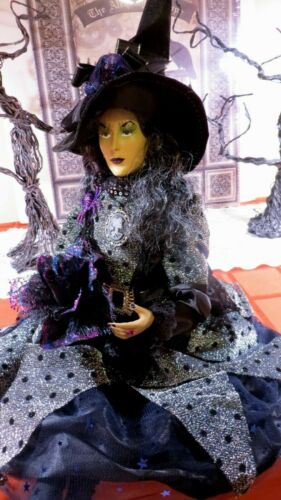 """HALLOWEEN WITCH DOLL W/ROSE, PENDANT, JEWELS, SPIDER -25"""" SHELF SITTER-GORGEOUS!"""