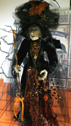 """HALLOWEEN WITCH DOLL w/NECKLACES,BROOM, SPIDERS, JEWELS, 25"""" STANDING FULL BODY"""