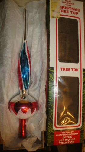 Vintage Blown Glass Christmas Tree Topper Decoration Ornament Putz Hand Painted