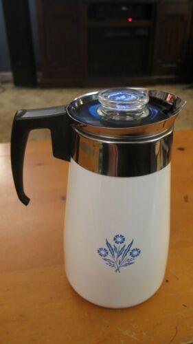 Vintage Cornflower Blue 9 Cup Stove Top Percolator
