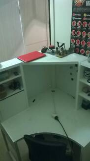 Great solid white corner unit desk with shelves