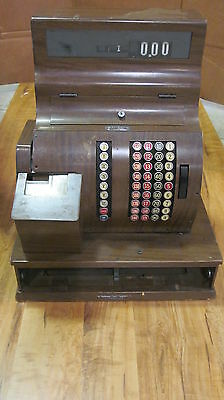 ANTIQUE NATIONAL CASH REGISTER - W/ WOOD BASE & KEY  MODEL # 1090  (NO DRAWER)